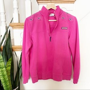Vineyard Vines bright pink whale pattern zip up S